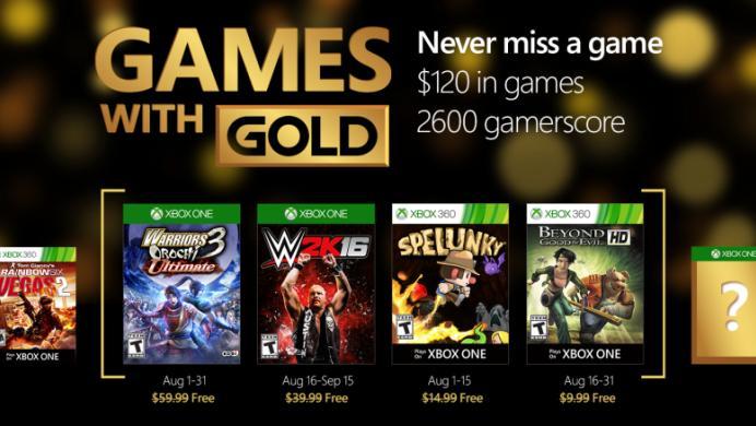 WWE 2K16, Warriors Orochi 3 y más, gratis en agosto para los usuarios Gold de Xbox
